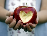 Heart-shaped apple