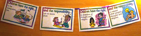 Bunting promoting children's rights and responsibilities