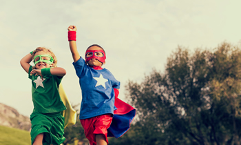 Children dressed as superheroes